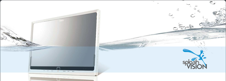 wasserdichte ferseher f r die badezimmer von splashvision. Black Bedroom Furniture Sets. Home Design Ideas
